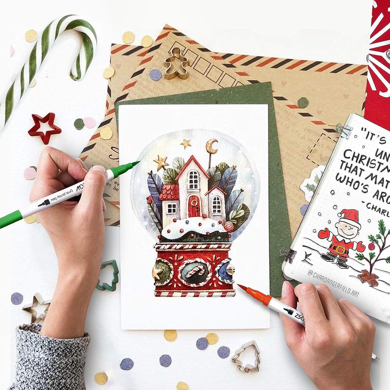 Pennarelli a doppio pennello da 60 colori penne colorate ZSCM Pennarelli per acquerello per calligrafia Fineliner per Disegno Bullet Journal Planner Progetti artistici Materiale scolastico
