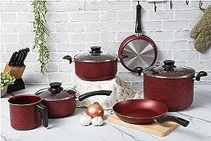 Tramontina Paris Line Red 9 Piece Cookware Set | Large Non-stick Stock Pot, Casserole Pot, Sauce Pan, Frying Pan, Milk Boiler.