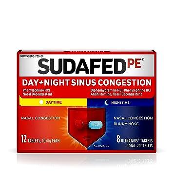 Sudafed PE Day & Night Sinus Decongestant Tablets, Phenylephrine HC1 &  Diphenhydramine HCl, 20