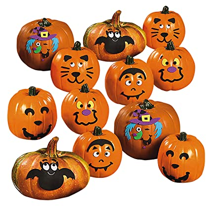 Foam Pumpkin Decorating Kits Set Of 24 Halloween Crafts For Kids