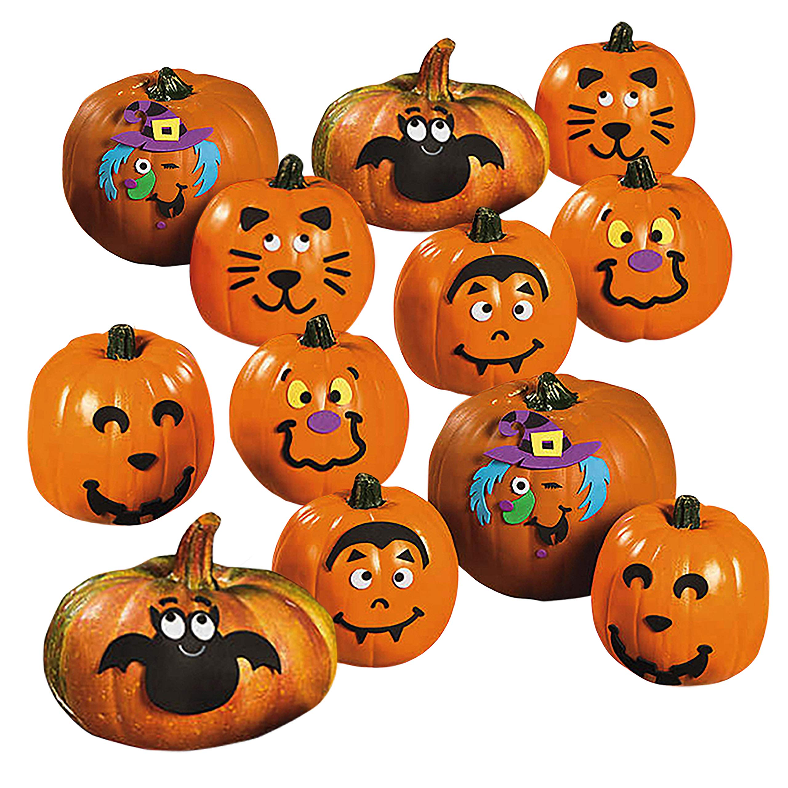 Foam Pumpkin Decorating Kits - Set of 24 Halloween Crafts for Kids by 18th Street Party Supplies (Image #1)