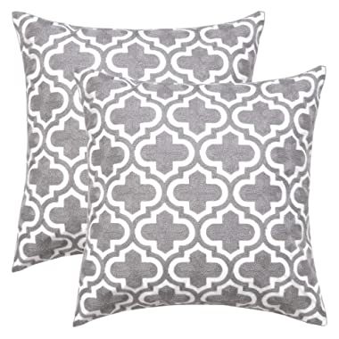 Ojia Pack of 2 Decorative Throw Pillow Cover Cotton Embroidered Cushion Case Square Damask Pillow Case for Sofa/Living Room/Car Modern Euro Art Decor (18 x 18 Inch, Morocco)