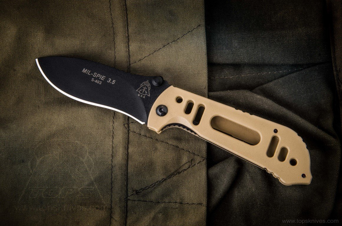 Tops Knives Mil-Spie 3.5 Hunter Combo Folding Knife - Black & Tan by TOPS Knives