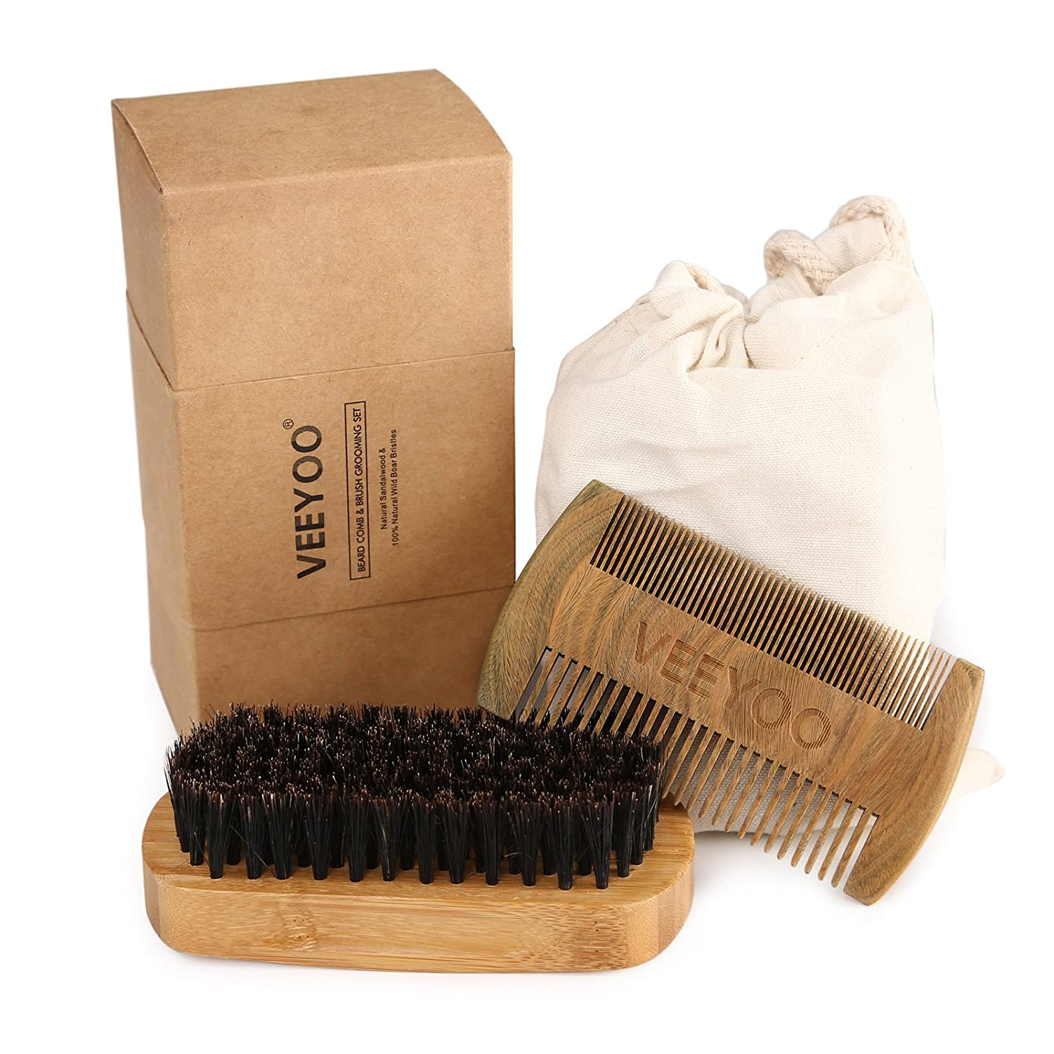 VEEYOO Beard Brush and Comb Set for Men - Handmade Wooden Comb & Natural Boar Bristle Beard Brush Kit for Beards & Mustache Conditioning, Styling & Maintenance - Protective Sleeve & Gift Pouch