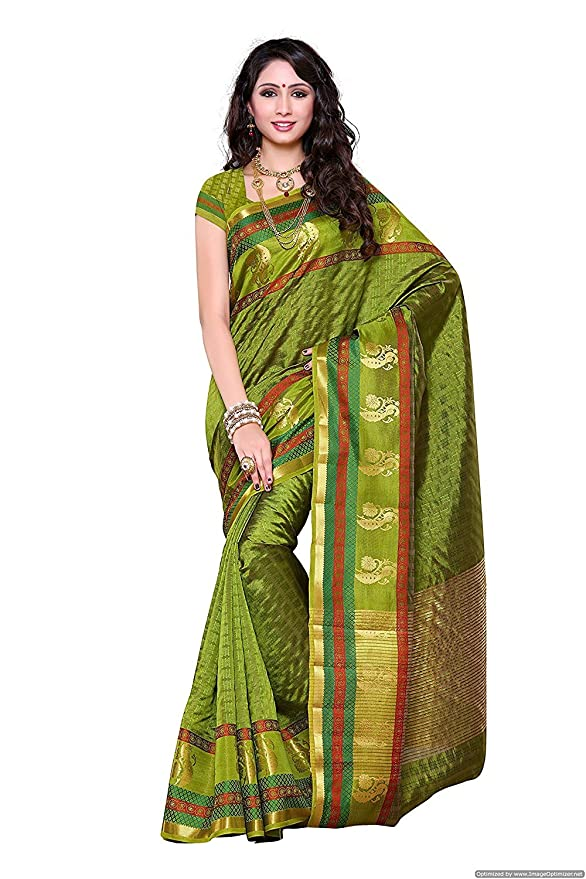 c3876208e90196 Indian Ethnic Art Kanchipuram Silk Moss Green Kanchipuram Silk Saree:  Amazon.ca: Clothing & Accessories