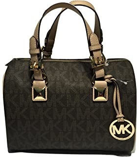 5b1574aa4662 Michael Kors MD Grayson Satchel Handbag Signature MK Brown PVC with  removable Cross Body Shoulder Strap