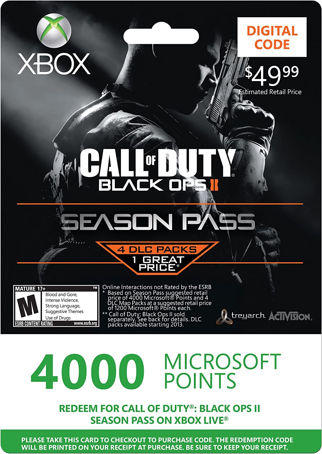 Amazon.com: Xbox LIVE 4000 Microsoft Points for Call of Duty ... on call of duty modern warfare cheat codes for ps3, call of duty zombies cheats, black ops zombies map codes,