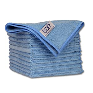 """12"""" x 12"""" Buff Pro Multi-Surface Microfiber Cleaning Cloths   Blue - 12 Pack   Premium Microfiber Towels for Cleaning Glass, Kitchens, Bathrooms, Automotive"""