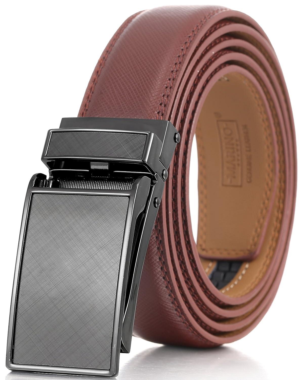 Marino Avenue メンズ 本革ラチェットドレスベルト Linxxバックル付 エレガントなギフトボックス入り B01N9B5BUZ XL|Gunblack Glossy Design Buckle With Brown Leather Gunblack Glossy Design Buckle With Brown Leather XL
