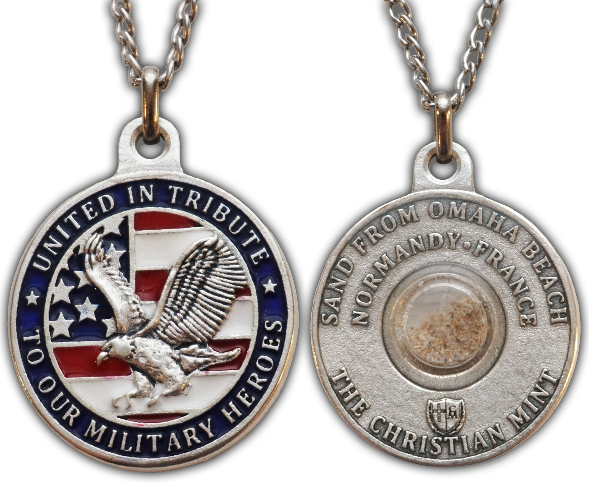 The Christian Mint, LLC United-In-Tribute Patriotic Medal with Capsule of Omaha Beach Sand (D-Day)