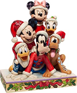 Enesco Jim Shore Disney Traditions Christmas Mickey Mouse and Friends Figurine, 5.91 Inch, Multicolor