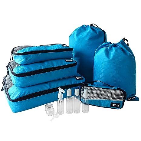 Optimal Organisation - Accesorios de Viaje con Organizadores de Equipaje Packing Cubes + Botellas y Envases Para Cosmética y Artículos de Aseo + Bolsa ...