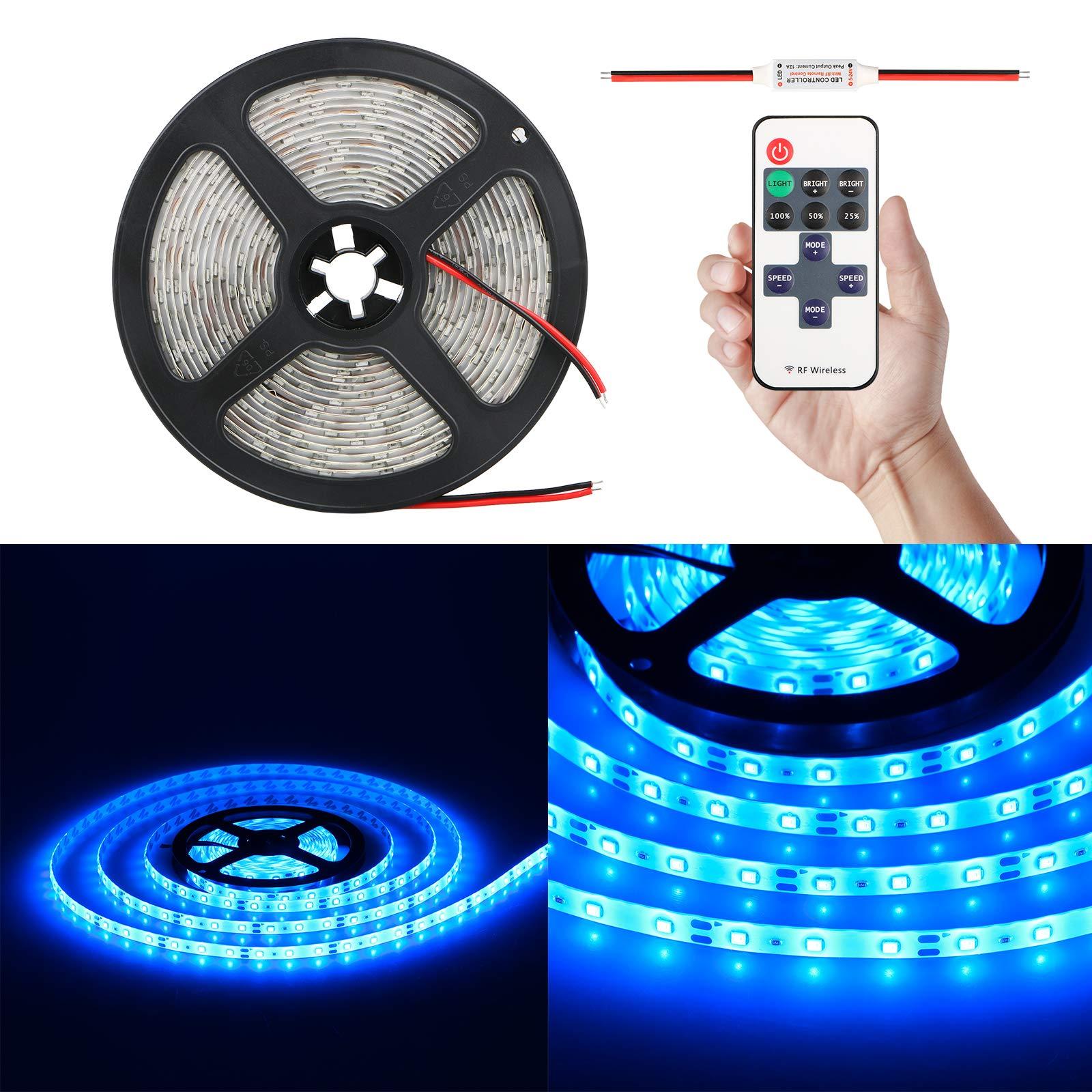 EEEKit Wireless Blue LED Light Strip Kit, Premium High Density SMD3528-16.4 Feet, 300 LEDs, 164 Lumens per Foot. UL-Listed. 12V DC Tape Flexible Interior Light