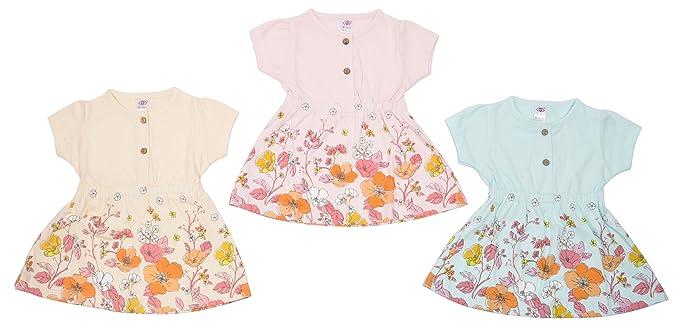 8445e5b2c Zero Baby Girl Dress Set, Size: 6-12 Months,Colour: Pink,Orange,Blue ...