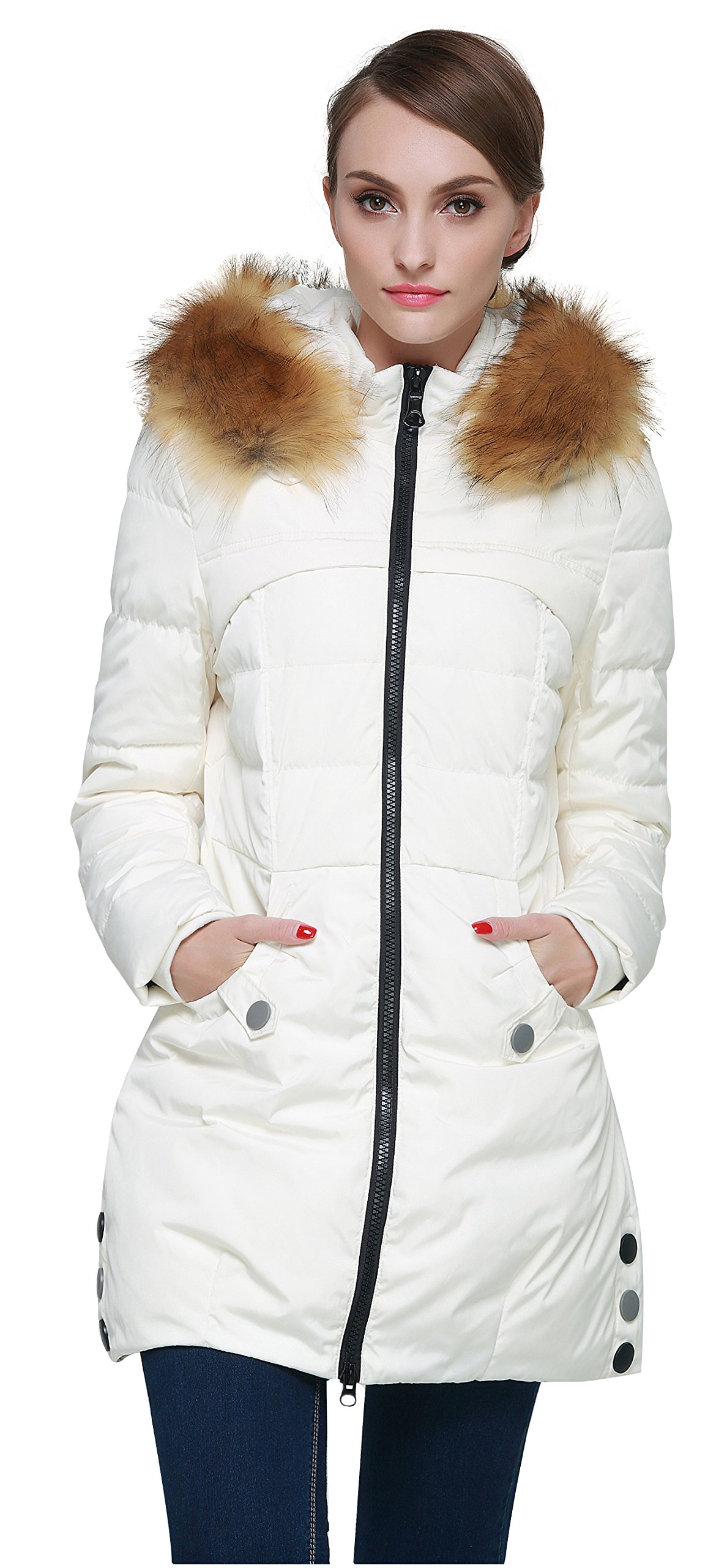 Orolay Women's Down Jacket with Faux Fur Trim Hood Beige XL