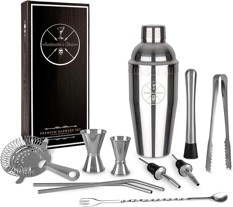 Bartender's Choice - Premium Edelstahl Cocktailshaker Set/Geschenk Set – 750ml Cocktail Shaker/Cobbler -