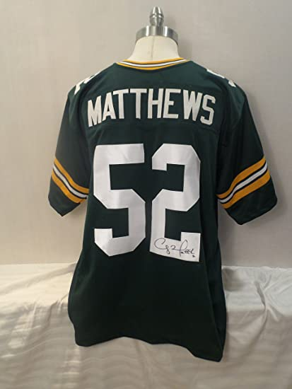 1191b0a7f Clay Matthews Signed Green Bay Packers Green Autographed Jersey Novelty  Custom Jersey