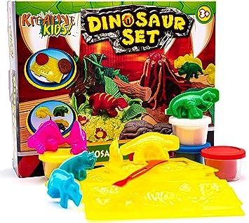 KandyToys Kids Dinosaurio VOLCÁN DE Masa DE MOLDEO Juego Craft Set Modelado DE Cubos DOH: Amazon.es: Juguetes y juegos