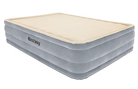 Bestway 67486 - Cama doble Hinchable Raised Foamtop Comfort (203 x 152 x 46 cm) Superficie flocada e inflador incorporado