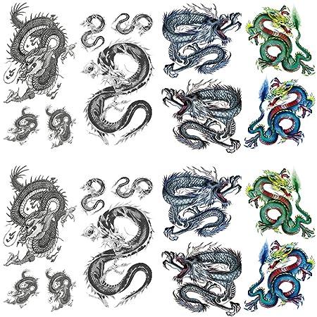 Yesallwas - Tatuaje temporal de dragón para hombres, adolescentes ...