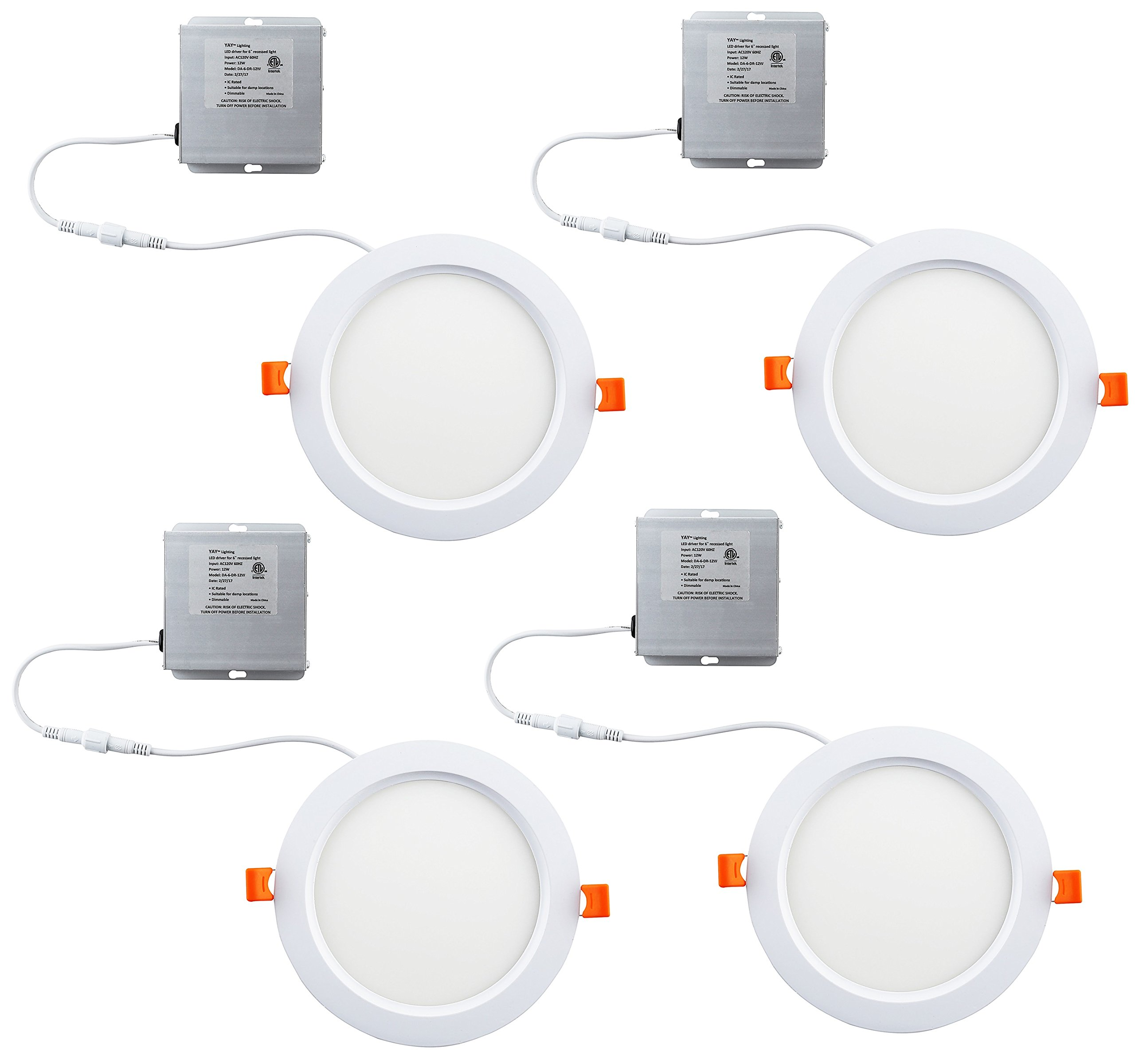 4 Pack Yay Lighting LED Recessed Ceiling Light – Ultra Thin Round Spotlight – Dimmable - ETL List - IC-Rated - 1050 Lumens - with Remote Driver Box (6 inch, Warm White 3000K)