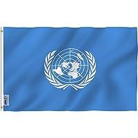 Anley Fly Breeze 90 x 150 cm Bandera Naciones Unidas - Colores Vivos y Resistentes a Rayos UVA - Bordes Reforzados con Lona y Doble Costura - Onu Internacional Banderas