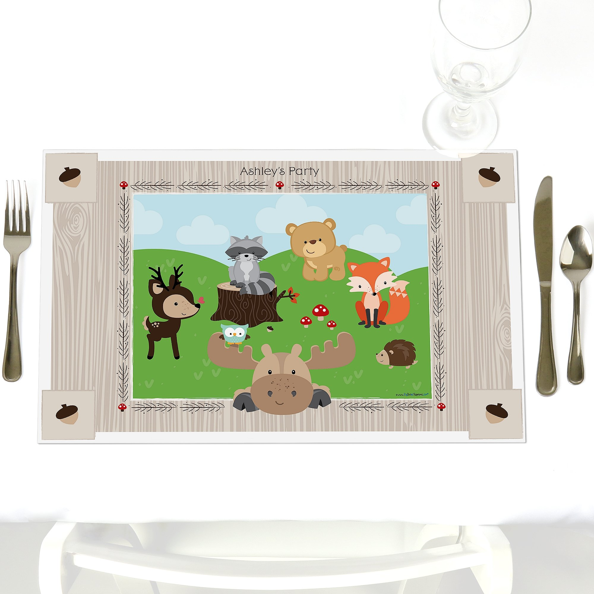 Custom Woodland Creatures - Party Table Decorations - Personalized Baby Shower or Birthday Party Placemats - Set of 12