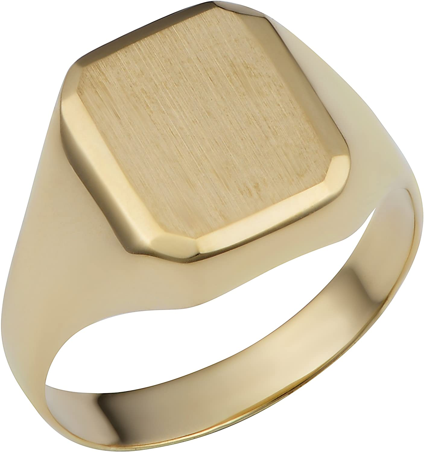 Kooljewelry 14k Yellow Gold Rectangular Signet Ring (mens or womens, 12.7 mm)