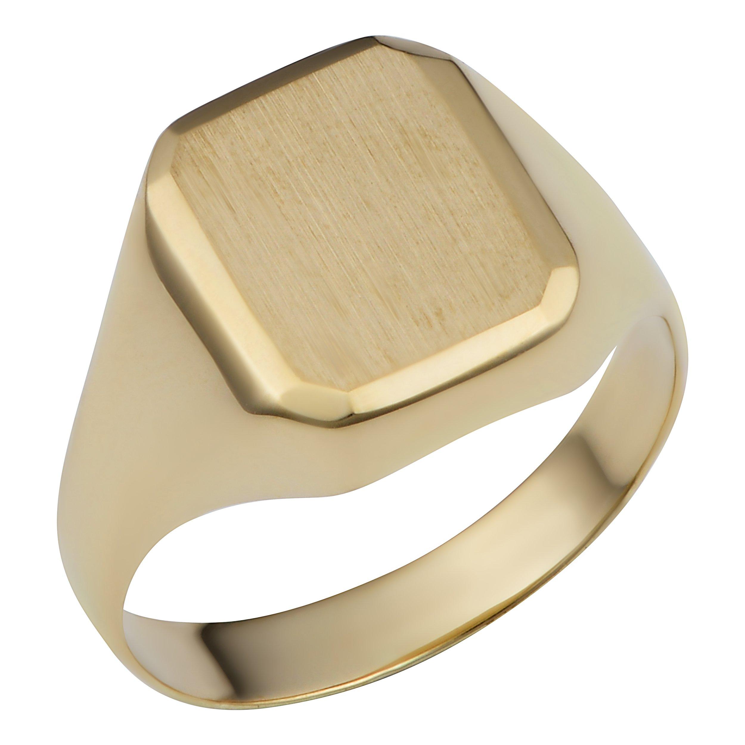 14k Yellow Gold 12.7mm Rectangular Signet Ring (size 7)