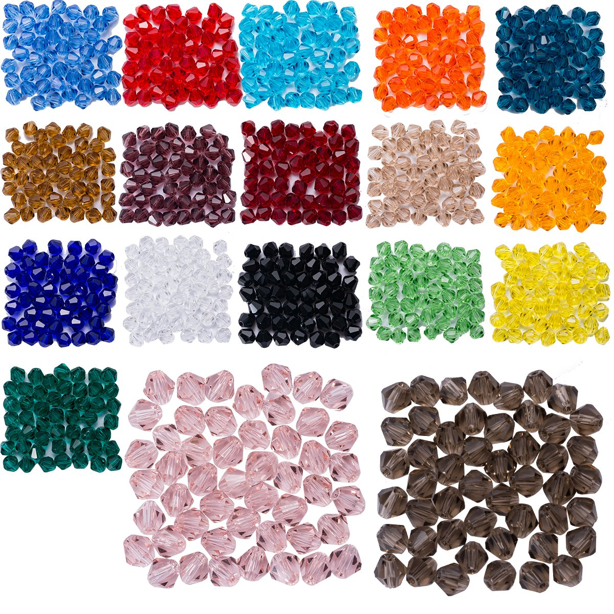 Lot 900pcs Glass Bicone Beads - LONGWIN Wholesale 6mm Bicone Shaped Crystal Faceted Beads Jewelry Making Supply for DIY Beading Projects, Bracelets, Necklaces, Earrings & Other Jewelries by LONGWIN