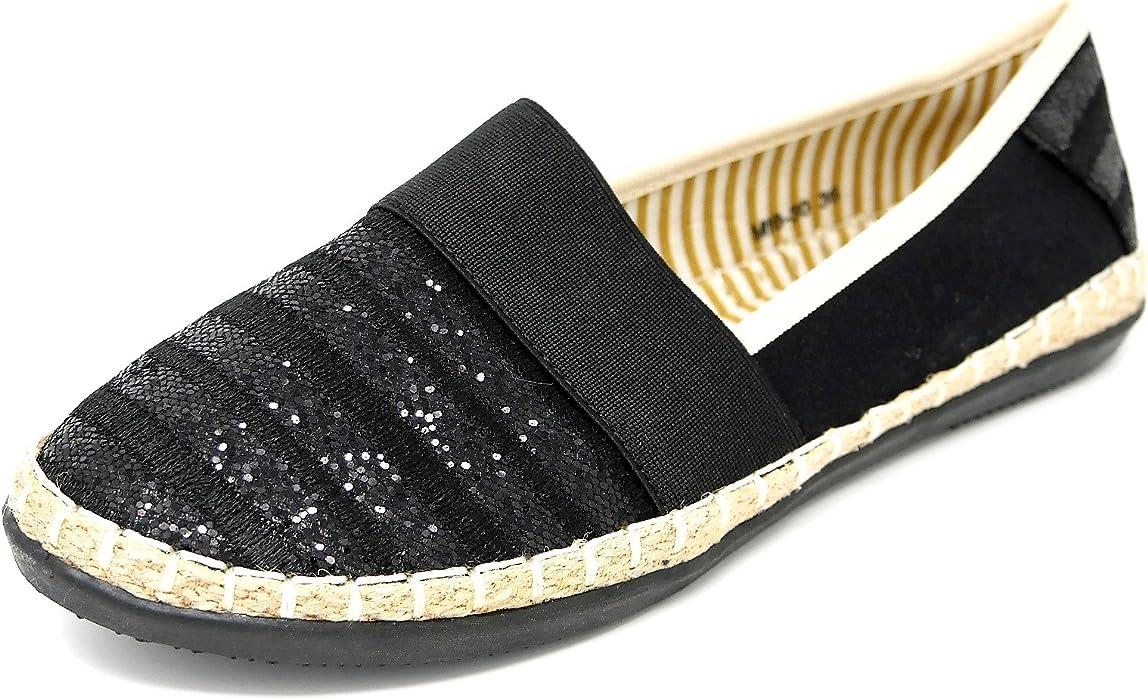 Bequeme Damen Espadrilles Bast Slipper Metallic Glitzer Flats 78966 Trendy