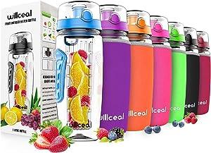 willceal Fruit Infuser Water Bottle 32oz Durable, Large - BPA Free Tritan, Flip Lid, Leak Proof Design - Sports, Camping