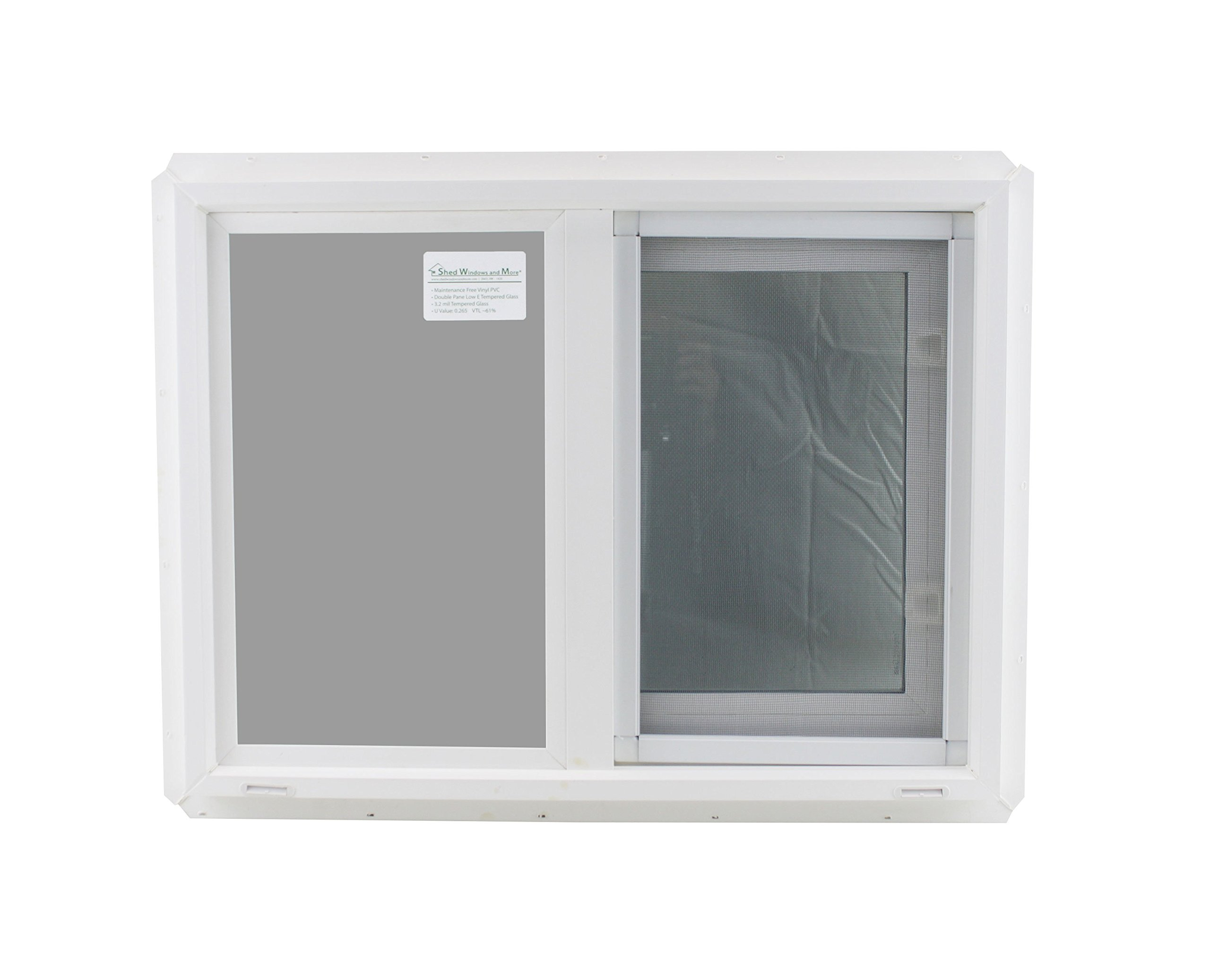 Window 24'' x 18'' Double Pane Tempered Glass Low-E PVC Frame Horizontal Slider