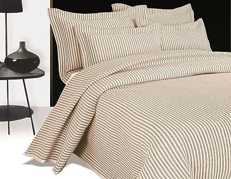 Funda de almohada con leche de avena Noé Natural almohada suave de la raya bordada pasillos