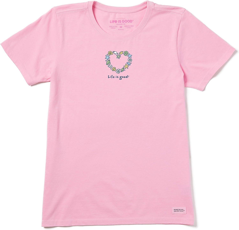 Life is Good Women's Vintage Crusher T-Shirt Seashells Heart: Clothing