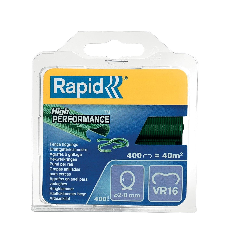 Rapid, 40108797, Agrafes de grillage galvanisées vertes, VR16, 2-8 mm, 400 pièces, Haute qualité ISABERG RAPID AGRAFAGE RPDVR16GR400