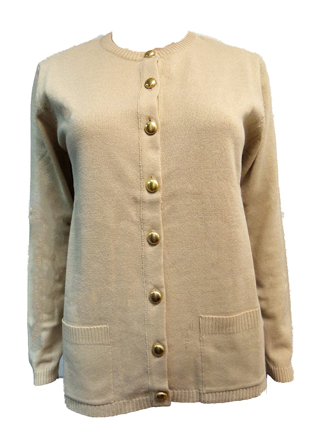 Ex M&S Ladies Womens Classical Smart Gold Button Black or Beige ...