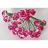 Idea bomboniere: Set di 24 rose roselline fiorellino chiudi pacco o sacchettino tulle per confetti color fuxia per composizioni