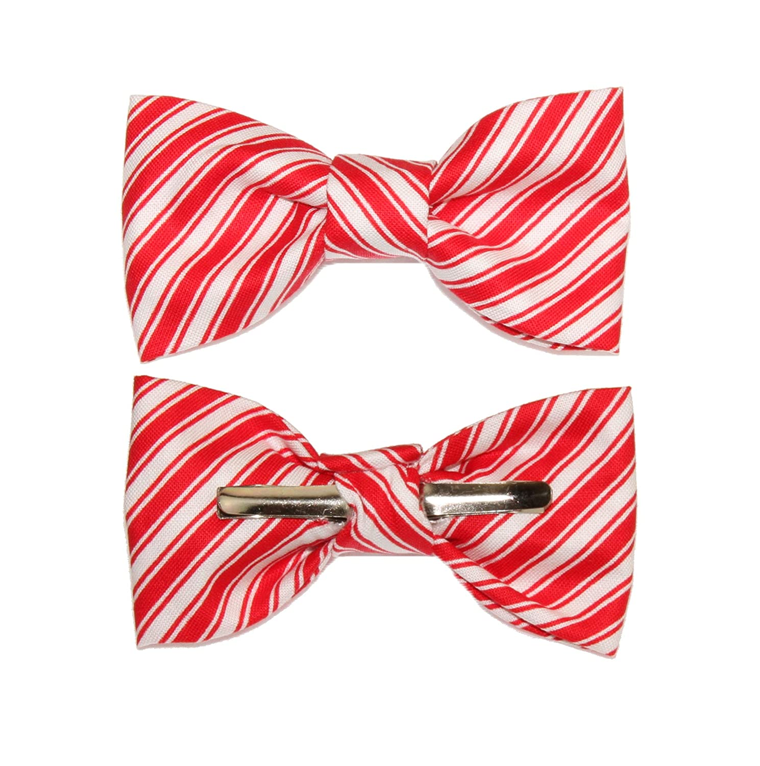 Toddler Boy 4T 5T Red White Candy Cane Stripe Clip On Cotton Bow Tie Bowtie