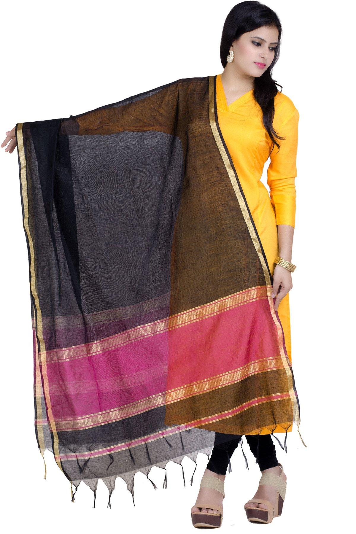 Chandrakala Women's Handwoven Resham work Banarasi Dupatta Stole Scarf (Pink)