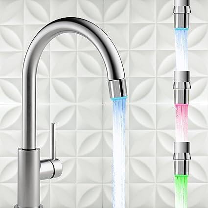 3 Color Sensor LED Light Water Faucet Tap Temperature For kitchen//Bathroom