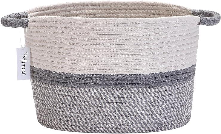 Hinwo Cesta de Almacenamiento de Cuerda de algodón Cesto de lavandería Plegable Organizador de contenedores de Almacenamiento de vivero con Asas, 15.7 x 12.6 Pulgadas: Amazon.es: Hogar