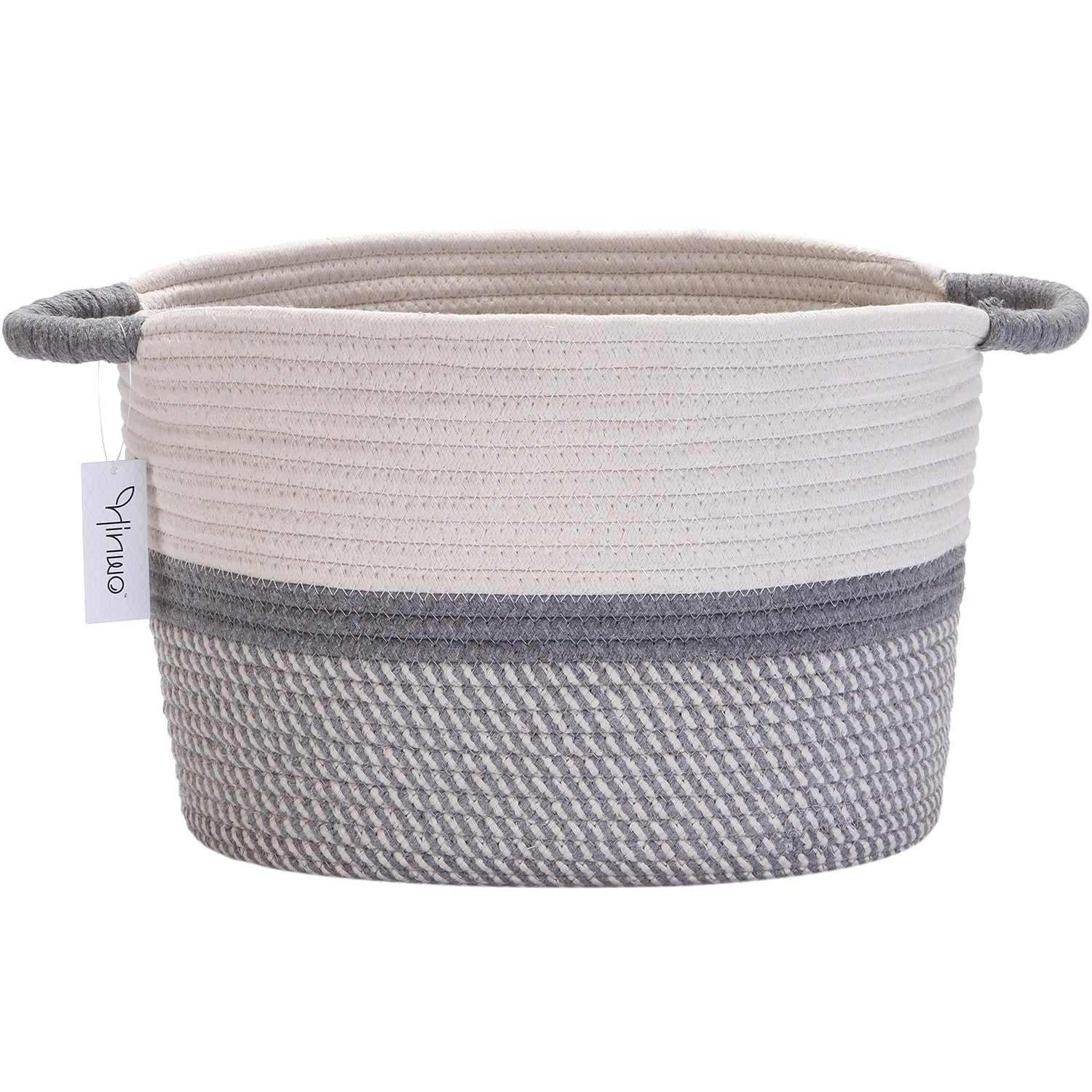 Hinwo Oval Cotton Rope Storage Basket Collapsible Nursery Storage Box Container Organizer with Handles, 13 x 10 inches, Off White and Grey