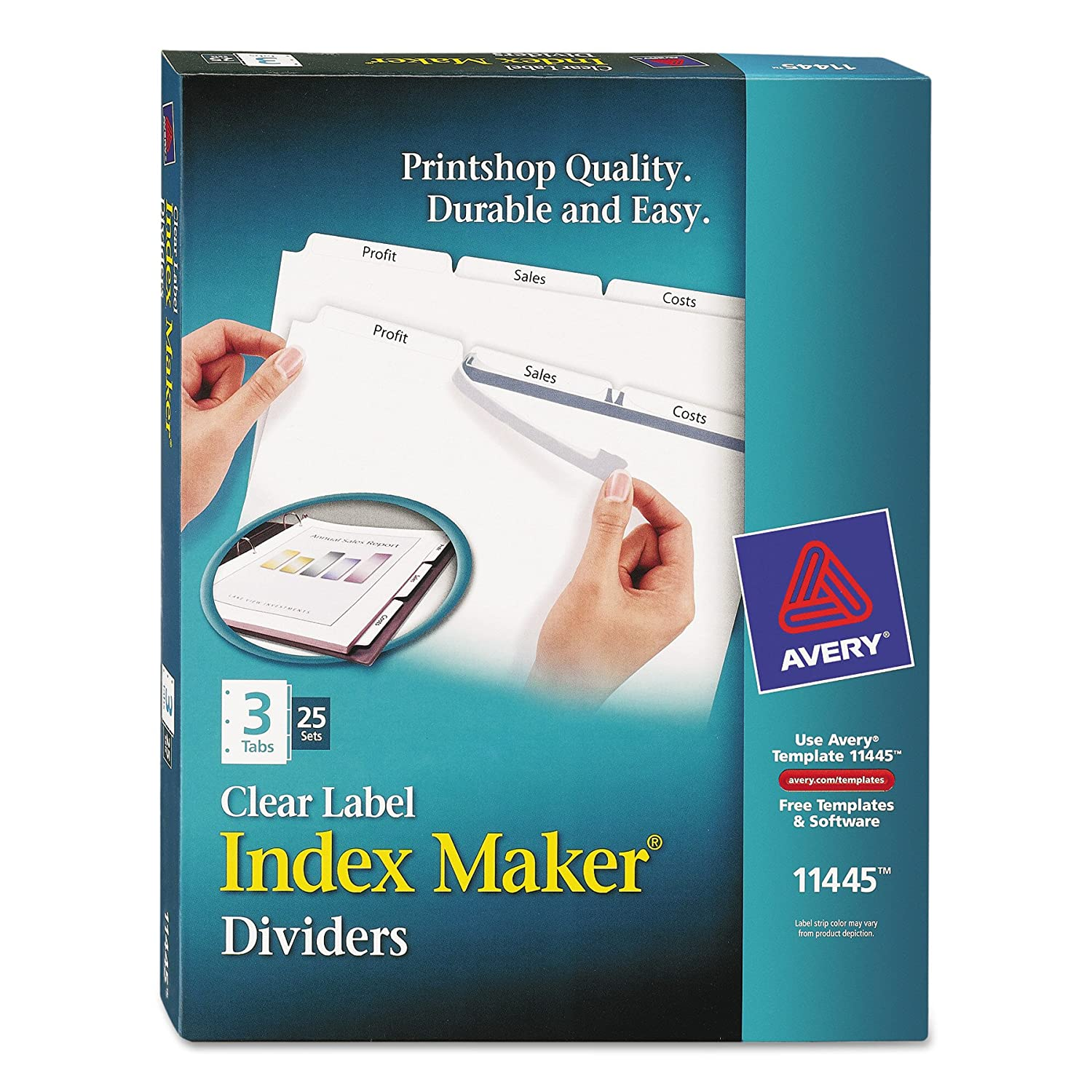Avery Index Maker Clear Label Dividers with Easy Apply Labels for Laser and Inkjet Printers, 8 tabs, White, 5 Sets, (11437)