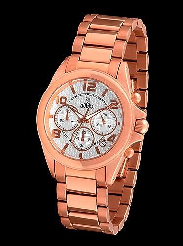 Dogma Crono300 - Reloj Caballero Movimiento Quarzo Brazalete Metálico Oro Rosa: Amazon.es: Relojes