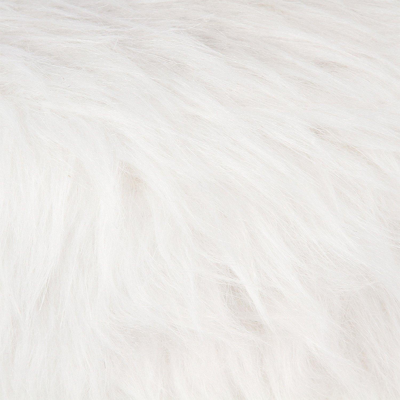 Coloris Blanc Stable /& Robuste Atmosphera Tabouret Pouf Rond en Fourrure