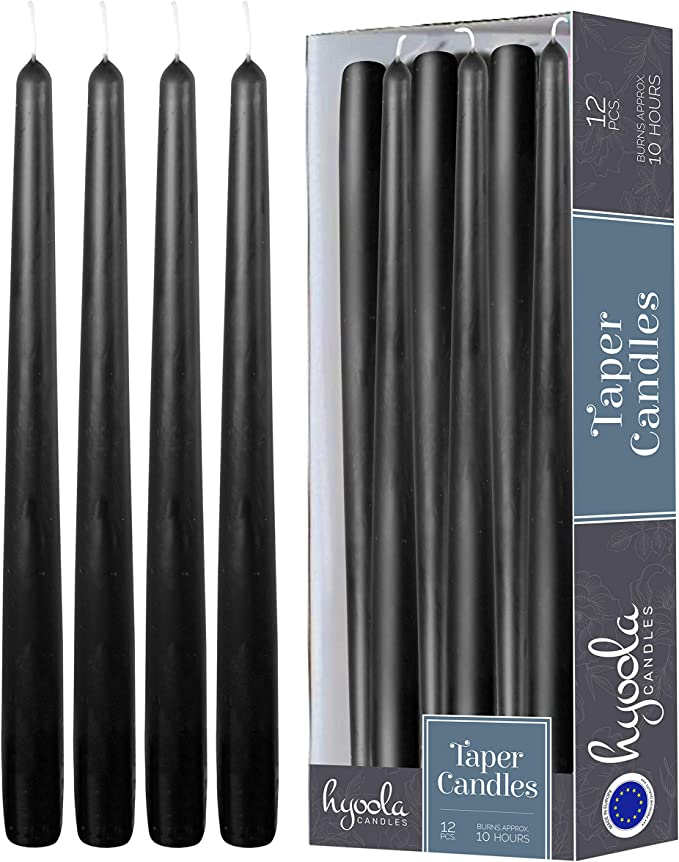3//4 inch Thick YUCH Black Taper Candles 10 Hour Clean Burning Set of 14 Dripless Candles 12 inch Tall