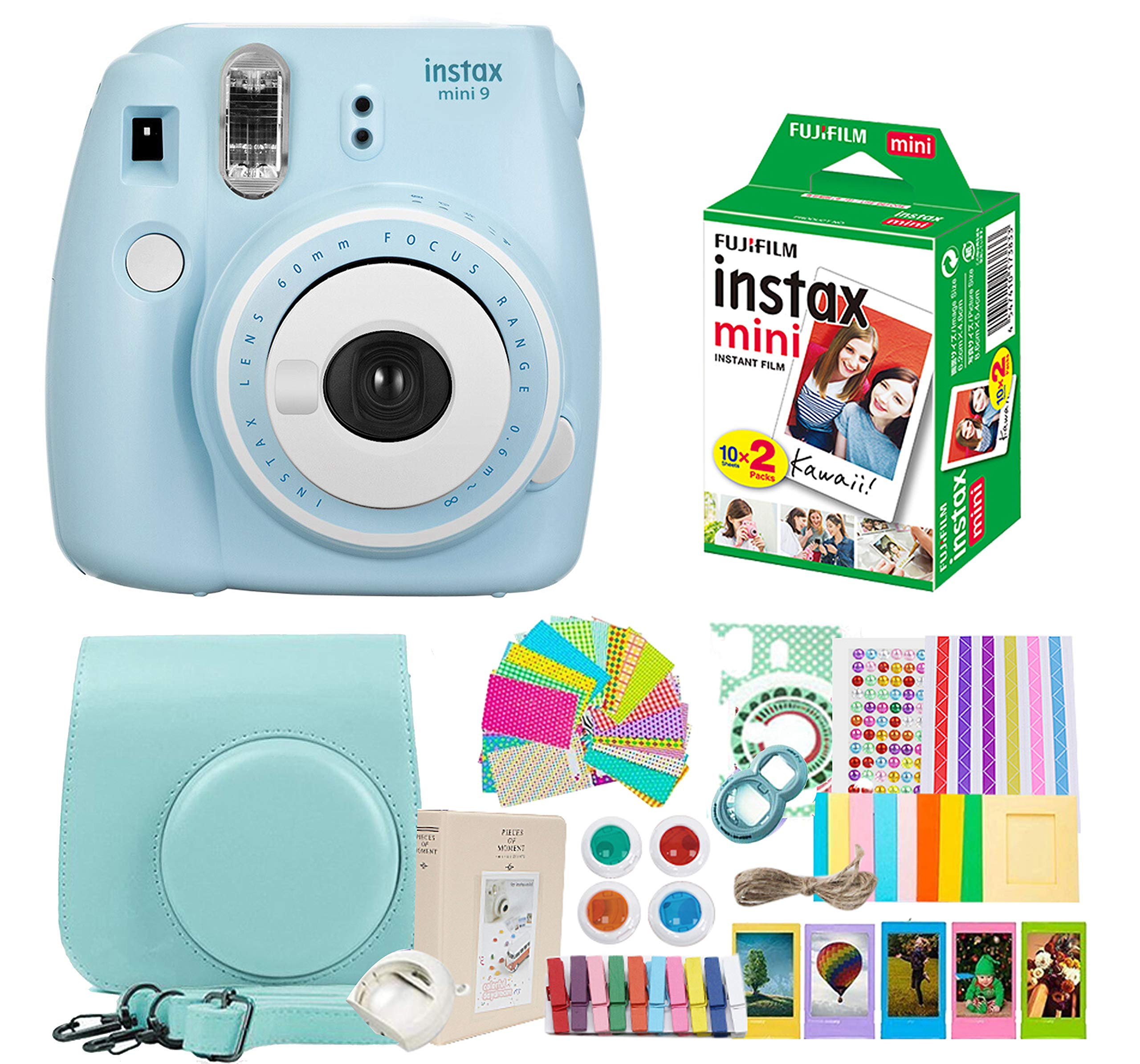 Fujifilm Instax Mini 9 Camera + Fuji Instax Mini Film + Instax Mini 9 Case + Instax Accessories Kit Bundle, Instant Camera Gift Sets - Ice Blue by Nishow