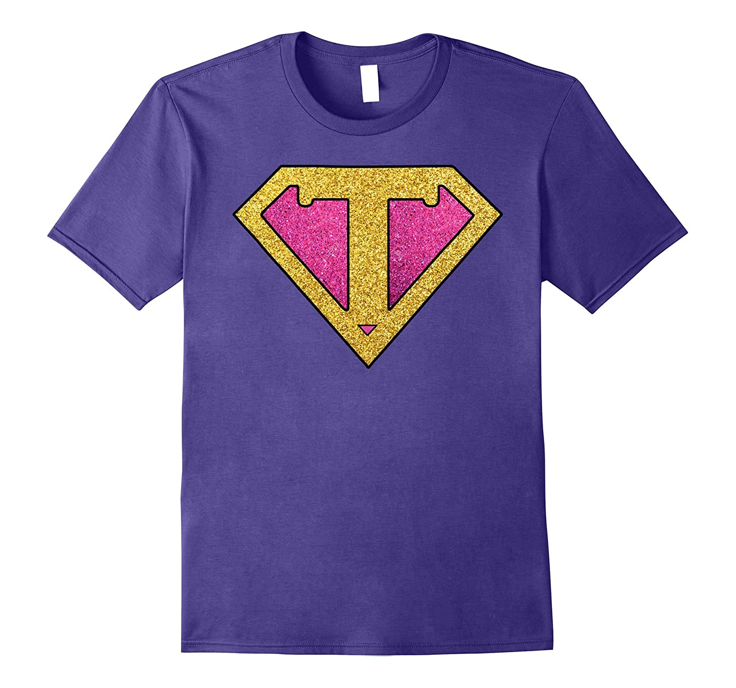 Super Teacher Costume Glitter Gold Pink Gift Tshirt-PL