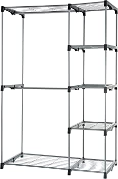 AmazonBasics Double Rod Freestanding Closet (Silver)